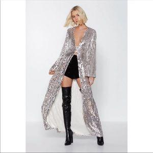 Nasty gal studio sequin duster top size 8 RARE